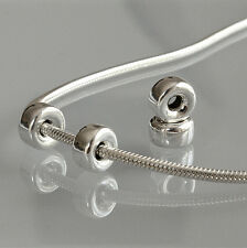 New solid .925 Sterling Silver Plain Flat Hollow Spacer Bead Bracelet Charm