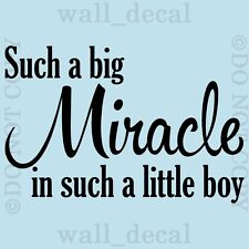 Such A Big Miracle Little Boy Wall Quote Vinyl Decal Decor Lettering Sticker