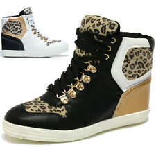 Womens Leopard Two Tone Wedges Sneakers Lady High Top Trainers Trend Shoes