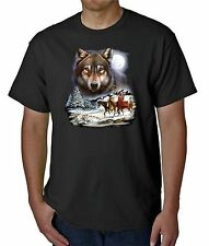WOLF SPIRIT NATIVE AMERICAN INDIAN T-SHIRT BLACK S M L XL