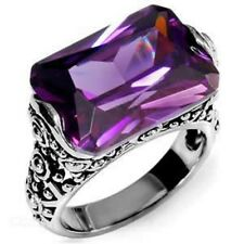 Ornate Purple Amethyst CZ Ring Stainless Steel Rectangle Antique Style SZ 6-10