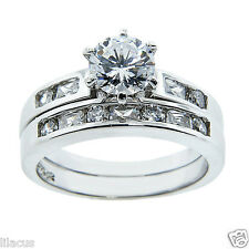 Two-Piece Sterling Silver and CZ Wedding Ring Sets in Diff. Styles - New