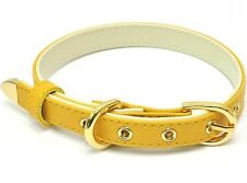 Yellow Saffiano Dog Collars - engrave your pet name and phone number
