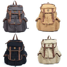 Women Vintage Casual Canvas Leather Backpack Rucksack Bookbag Hiking Bag Satchel