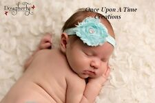 Aqua Blue Shabby Flower Newborn Headband - Baby Girl Hair Photo Prop Bow Hairbow