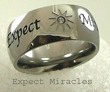 Expect Miracles Ring Stainless Steel Band CZ Size 5-10 Inspirational Silver