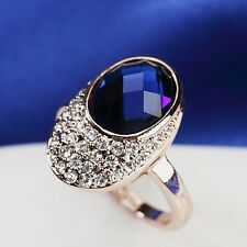 18K Rose Gold Plated Made With Swarovski Crystal Cute Nail Shaped Blue Ring