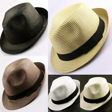 Womens Mens Cuban Style Fedora Trilby Panama Straw Cap Hat Red/Brown/Black/White