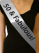 50TH BIRTHDAY GIFT PRESENT - 50 AND FABULOUS SATIN PARTY SASH FIFTY DECORATION