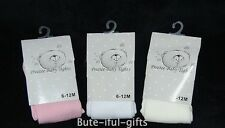 Baby Girls/Infant Plain White Pink Cream Tights NB-24 M 2-4 Years *One Supplied*