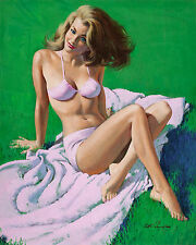 Retro Vintage Pin Up In Pink ARTHUR SARON SARNOFF Art Canvas  Girl Print s