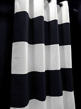 CA134-132 White Navy Blue Stripe Cotton Canvas Curtain x 1 Panel (Custom made)