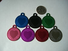 """Engraved Pet/Dog Id Tags 1 1/4"""" Round With Heart 7 Colors Fast Free Shipping"""