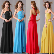 Floor-length One Shoulder Women's Formal Dress Bridemaid Prom Ball Gown Cocktail