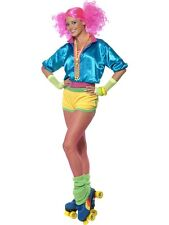 ADULT WOMENS SKATER GIRL COSTUME 1980'S ROLLER DISCO FUNKY FANCY DRESS - 2 SIZES