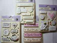 NEW WEDDING DIMENSIONAL STICKERS *You Choose* True Love Wedding Bliss  K & CO