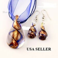 Teardrop glitter lampwork pendant blown venetian and earrings sets