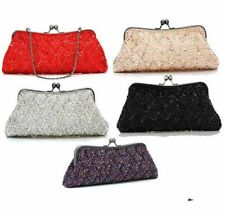 WOMENS HAND BEADED SEQUIN CLUTCH BAG WEDDING FORMAL RED BLACK PURPLE PEACH