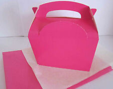 PINK FAVOUR PICNIC LUNCH MEAL BOXES - PARTY FOOD GIFT BOX  -WITH x2 TISSUE PAPER