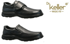 Mens Dr Keller Wide Shoes Slip on Velcro Faux Leather Black Comfy Casual Office