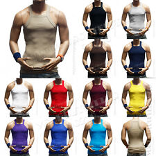 100% Premium Cotton Square Cut Muscle Ribbed Wife Beater/Tank Top Men's A-Shirts