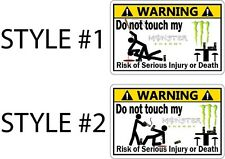Set of Two Funny Monster Energy Drink Warning Stickers Decals 2 Styles