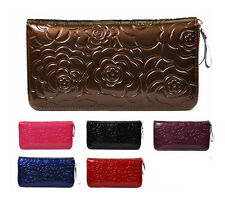 Rose Flower Patent Leather Women's Lady's Clutch Bag Wallet Purse,8 card holder
