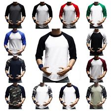 3/4 Sleeve  Plain T-Shirts Lot Baseball Tee Raglan Jersey Sports Men's Tee S-3X