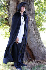 Medieval/SCA/Larp/Re enactment/Pagan/Gothic BLACK HOODED CLOAK all sizes