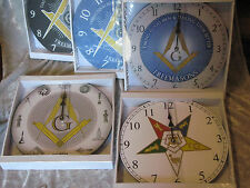 Free Masons Masonic Wall Clock Time Square Compass Eastern Star Lodge NEW!