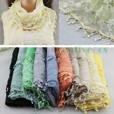 Vintage Women's Embroidery Lace Floral Crochet Stitching Scarf Shawl Trim Tassel