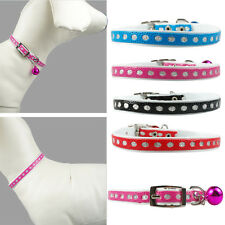(4 colors) Silvery dots in sequins PU Leather  with Bell Collar For Cat Puppy