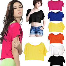Candy Color Womens Crop Top Ladies Short Sleeve Pocket Casual Belly Tee Shirts