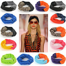 Pink Black Leopard Twist Turban Hair band Women's Headband Stretch Tie Wrap Knot