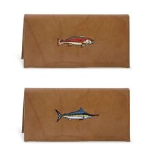 ZEP-PRO Mens Genuine Leather MARLIN REDFISH Wallet Checkbook Brown NWT pic fish