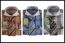 New Fratello Plaid White Collar French Cuffs Dress Shirt,Tie,Hanky Brown, Royal