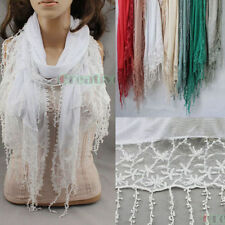 Women Striped Cotton Embroidery Floral Mesh Lace Tassel Long/Infinity Scarf New