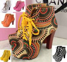 Women Sweety Sexy Lita platforms Punk high heels shoes Lace Up Ankle boots #916