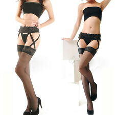 Women's Lace Suspender G-String Hold Stocking Garter Belts Stockings Set Tights