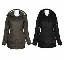 Ladies Womens Winter Warm Military Trench Style Hooded Parker Jacket Coat