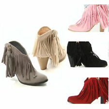 Woman Fashion Fringe Pointed Toe Punk High Heels Shoes Ankle Boots 6 Colors