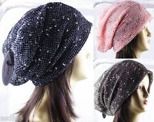1 Pack Women's Long Net with Multi-Colored Knots Light Beanie Hat Slouchy Cap