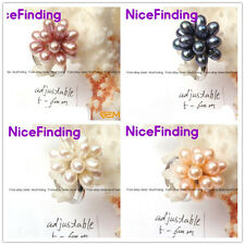 5-6mm Freshwater Pearl Gold Plated Ring Adjustable Size Fashion Jewelry 4 Colors