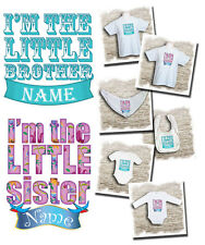 Personalised I'm the little brother / sister t-shirts, bodysuits and bibs.