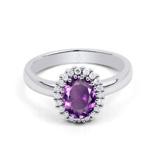 New 18K White Gold Amethyst and White Diamond Halo Engagement Ring 0.16ct 2.5mm