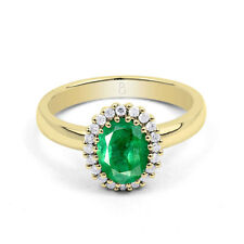 18ct Yellow Gold Emerald & Diamond Halo Engagement Ring 0.16ct 2.5mm