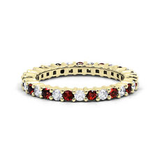 18ct Yellow Gold Ruby & Diamond Full Eternity Ring Band 0.45ct 2.3mm