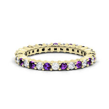 18ct Yellow Gold Amethyst & Diamond Full Eternity Ring Band 0.45ct 2.3mm