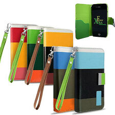 RAINBOW COLOURED STRIPE BLOCK LEATHER FLIP COVER WALLET FOR VARIOUS MOBILE PHONE