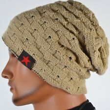 Men Reversible Knit Beanie Stripe Hat Winter Skullcap